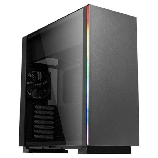 Caixa AEROCOOL Glo RGB Tempered Glass Black