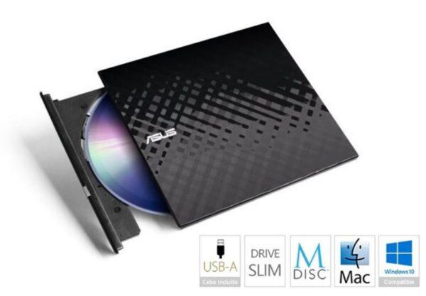 DRIVE ASUS DVDRW 8X Slim Preto USB - SDRW-08D2S-U LITE