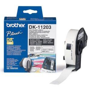 BROTHER 300 Etiquetas P/ Pastas 17mm 87mm - DK11203