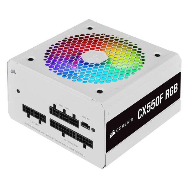 Fonte de Alimentação CORSAIR CX550F RGB Series 550W (Modular) White