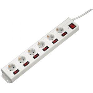 Bloco 6 Tomadas HAMA C/ Interruptor Individual 1,4m Branco