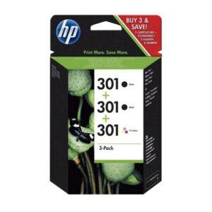 Tinteiro HP Nº301 Pack 2x Preto 1x Cyan/Magenta/Amarelo
