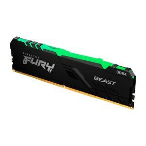 Memória KINGSTON Fury Beast RGB 16GB (1x16GB) DDR4 2666MHz 1R CL16 Preta