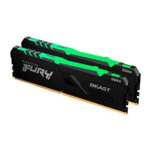 Memória KINGSTON Fury Beast RGB 16GB (2x8GB) DDR4 2666MHz 1R CL16 Preta