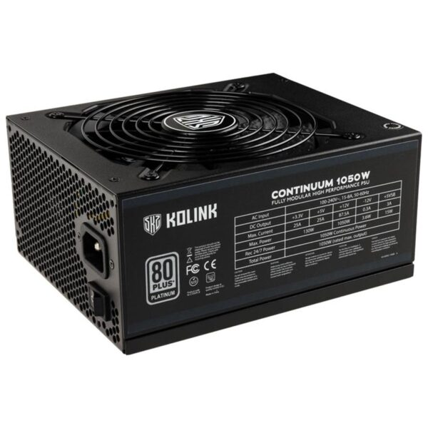 Fonte de Alimentação KOLINK Continuum 1050W 80+ Platinum (Modular) - KL-C1050PL