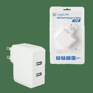CARREGADOR LOGILINK USB 2 Portas 3.4A 17W - PA0094