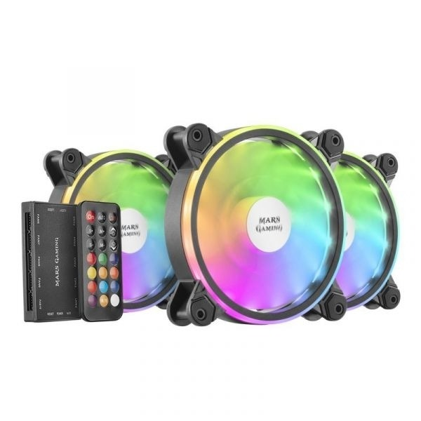 Kit Ventoinhas MARS GAMING MFXKIT Triple Pack ARGB Fan KIT 120mm Black