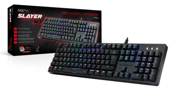 TECLADO MKPLUS Slayer M3 Mechanical Gaming RGB PT Brown SW
