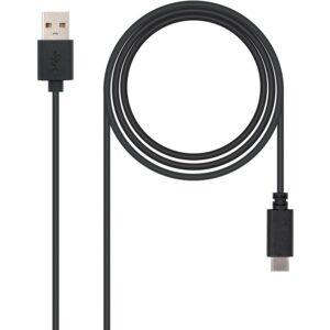 Cabo NANOCABLE Tipo USB-C/M-A/M 2 M Preto