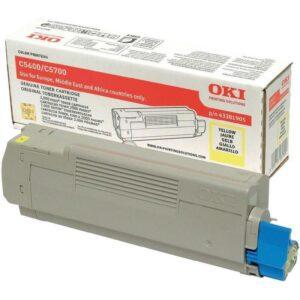 Toner OKI C5600/C5700 Amarelo - 43381905