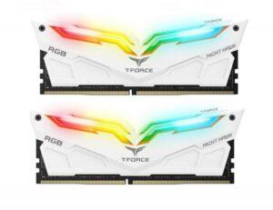 Memória TEAM GROUP 16GB 2X8GB DDR4 3000MHz NIGHTHAWK RGB WT