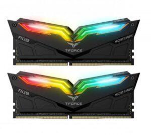 Memória TEAM GROUP 16GB 2X8GB DDR4 3200MHz NIGHTHAWK RGB BK